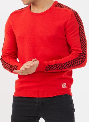 XHAN Kırmızı Bisiklet Yaka Kolları Desenli Triko Kazak 1Kxe8-44474-04 Kırmızı